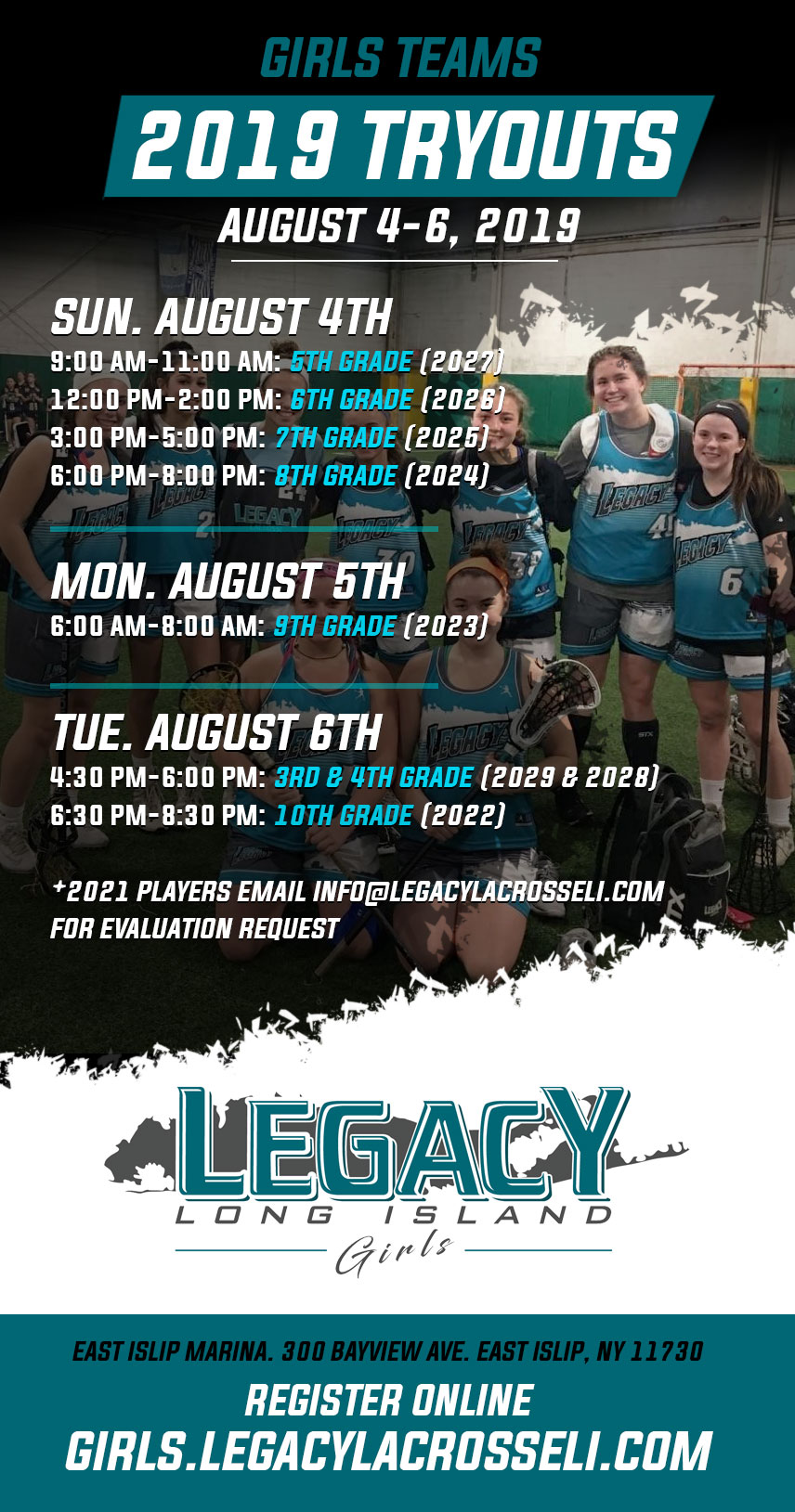 Tryout Dates 2019 Girls FINAL